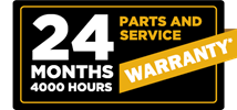 24 months / 4000 hours parts and service warranty